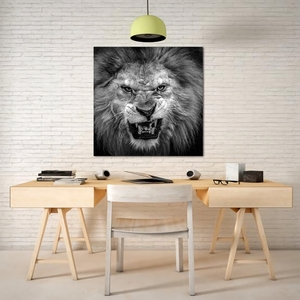 Laeacco Canvas Calligraphy Painting Nordic Black and White Wall Art Lion Animal Posters and Prints Home Living Room Decoration