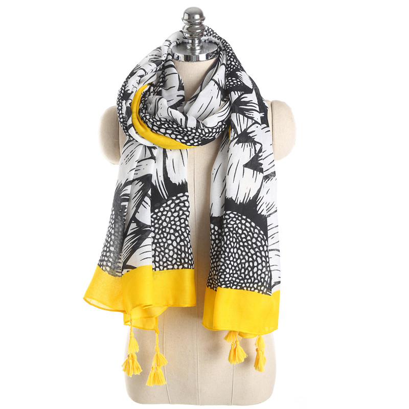 NEW Retro Ethnic Thin Women Scarfs Fashionable Cotton Scarf Wrap Print Shawl Sunflower Pattern Tassel Pashmina Scarves Stoles