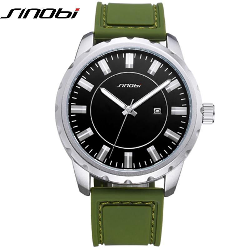 SINOBI Big Dial Men Sport Watches 2017 Soft Silicone Strap Watch Green Band Montre Hommes 30