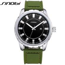 Sinobi dial grande de los hombres relojes deportivos 2017 de silicona suave correa de reloj verde band montre hommes 30 metros impermeables relojes hombre