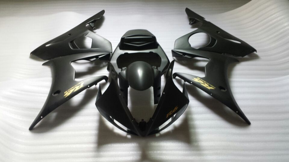Injection mold fairing kit for yamaha yzfr6 05 yzf r6 2005 yzf600 yzfr6 2005 matte black abs plastic
