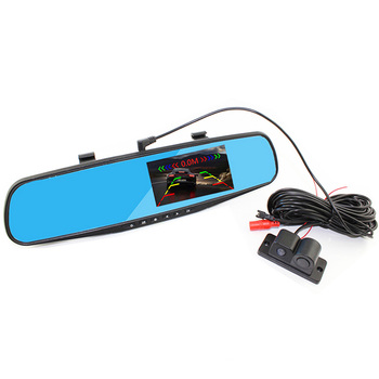 Double Recording Before And After Reversing HD 1080P 4.3 Inch Blue Screen Rearview Mirror Rriving Recorder+Parking Sensor