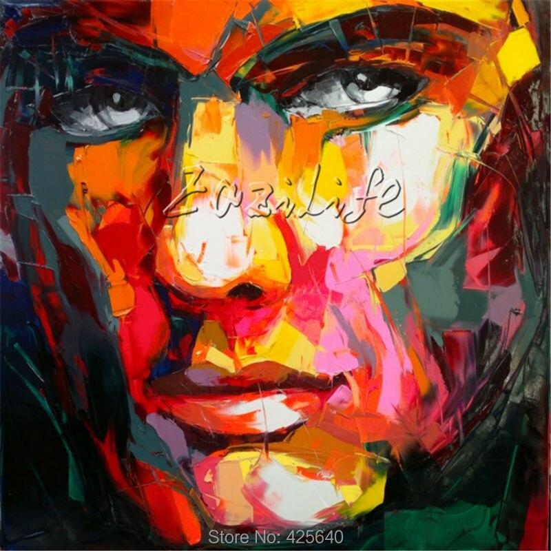 Portrét paletového nože portrét Paletový nůž tvář Olejomalba Impasto postava na plátně Art Ručně malované Francoise Nielly