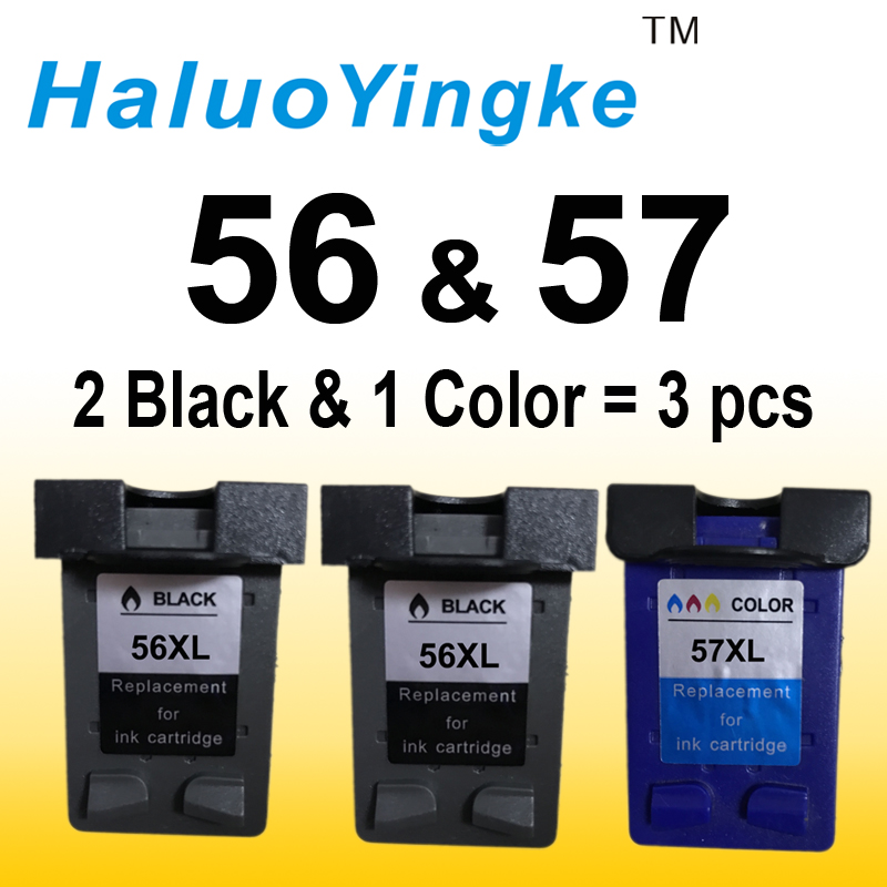 3pk cartuchos de tinta reemplazo para HP 56 57 HP56 56XL 57XL C6656A C6657A para HP Deskjet 2100 220 450 5510 5550 5552 7150 impresora