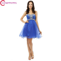 Cocktail Dresses A Line Sexy Girls Blue Short Tulle Sequins Beaded Sweet Homecoming 2017