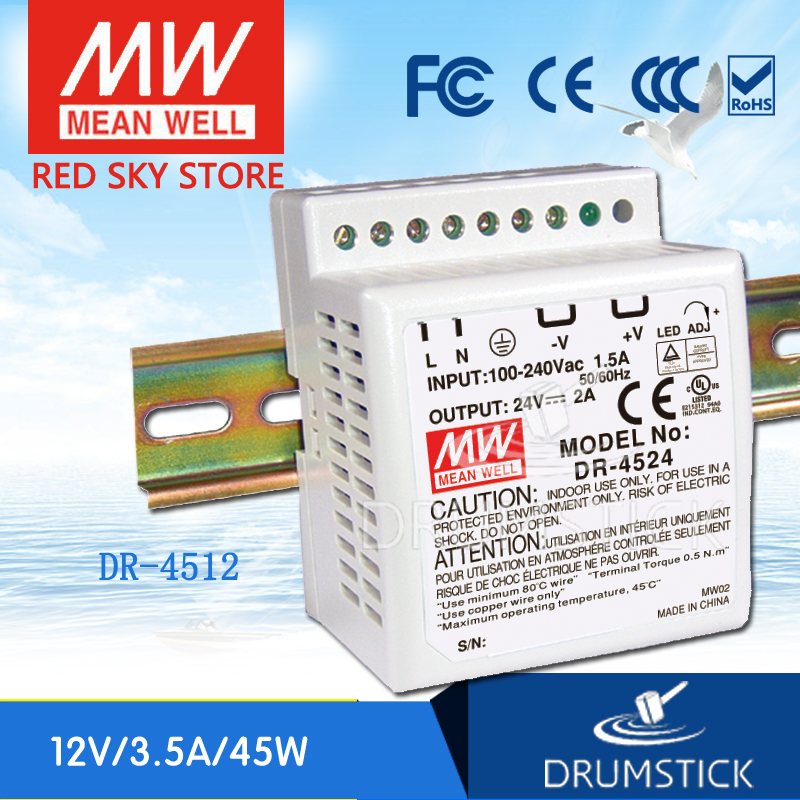 Hotsale MEAN WELL DR-4512 <font><b>12V</b></font> <font><b>3.5A</b></font> meanwell DR-45 <font><b>12V</b></font> 42W Single Output Industrial DIN Rail <font><b>Power</b></font> <font><b>Supply</b></font> image