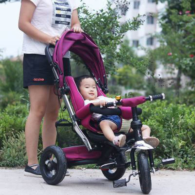New design Child tricycle baby stroller toy for 0-6 years old bike bicycle moving baby bed crib sit+ride+lie sleep three in one baby stroller pram bb rubber wheel inflatable tires child tricycle infant stroller baby bike 1 6 years old bicycle baby car