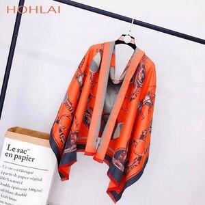 Image 4 - ラグジュアリーブランドオレンジキャリッジチェーンプリントカシミヤスカーフの女性のスカーフの女性の首のファッションショールラップ暖かい冬 hijabblanket