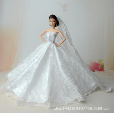Genuine wedding dress for barbie clothes lot barbie princess dresses barbie accessories original fashion party dress fashionista