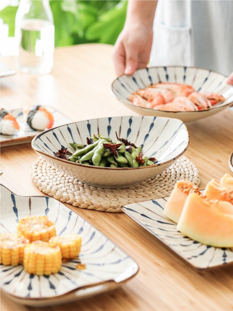 Vaisselle en céramique japonais sous glaçure | Bol de riz de couleur, vaisselle de cuisine, couverts de cuisine, porcelaine chinoise, service d'assiettes