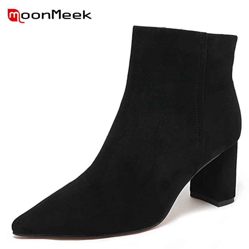 MoonMeek new fashion pointed toe shoes autumn winter ladies boots classic woman ankle boots high heels suede leather bootsMoonMeek new fashion pointed toe shoes autumn winter ladies boots classic woman ankle boots high heels suede leather boots