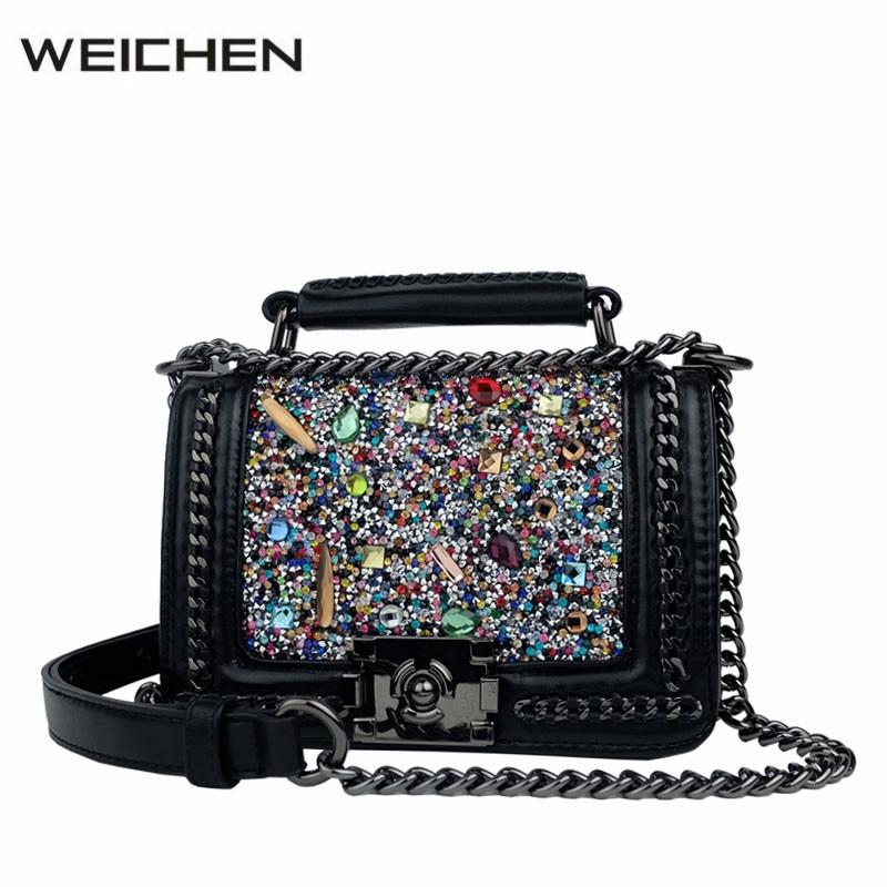 Designer Handbags High Quality 2017 Newest Rock Colorful Diamonds Women Messenger Bags Shoulder Bag Female Handbag Brand Tasche 2017 designer handbags high quality