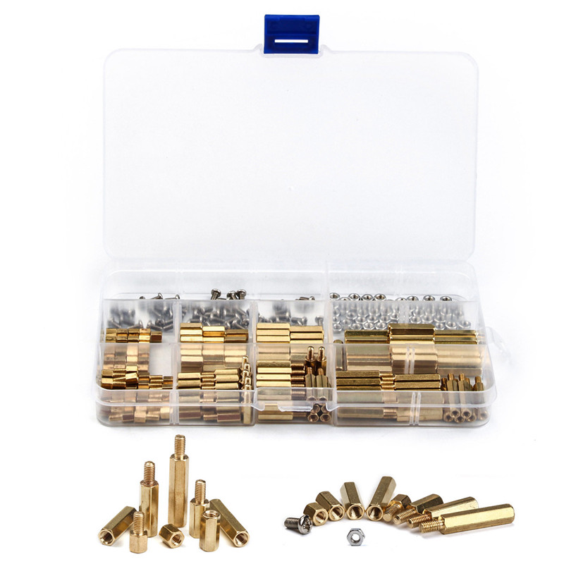 300 PCS M3 Brass Copper Pillar Stand Off Hex Column Spacer Screw Nut and Cross Round Head Screw Copper Pillar Kit Fastener Tool 150pcs m3 white hex spacers nylon screw nut washer assortment standoff kit stand off plastic