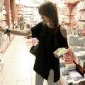 2015 nuevo envío libre Mujeres de Profundo Cuello Manga Corta Recortable hombro Top De punto de Algodón femenino ocasional corta camiseta S-XXL Y0617-30D