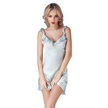 2016 New 100% Silk Satin Women Nightgown Sexy Nightie Nightdress Chemises Slip Sleepwear Ladies Nightwear Sleepshirts Ruffle Hem