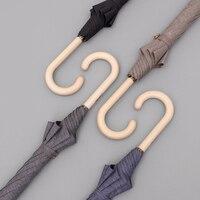 Tiohoh Automatic Long Umbrella Poplar Log Wooden Handle 4 Colors Minimalism Women Men Rain Windproof Classic Umbrella