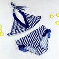 8-16Y Marinho/Bebê Menina Da Praia Swimsuits do Biquini 2016 Criança Conjunto de Banho Stripe Halter Strap Falbala Swimwear Crianças Biquini Infantil