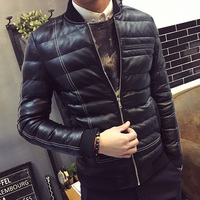 Fashion striped winter cotton padded pu leather jacket men slim fit thickening mens jacket men's clothing size m 5xl MF16