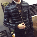 Fashion striped winter cotton padded pu leather jacket men slim fit thickening mens jacket men's clothing size m-5xl MF16