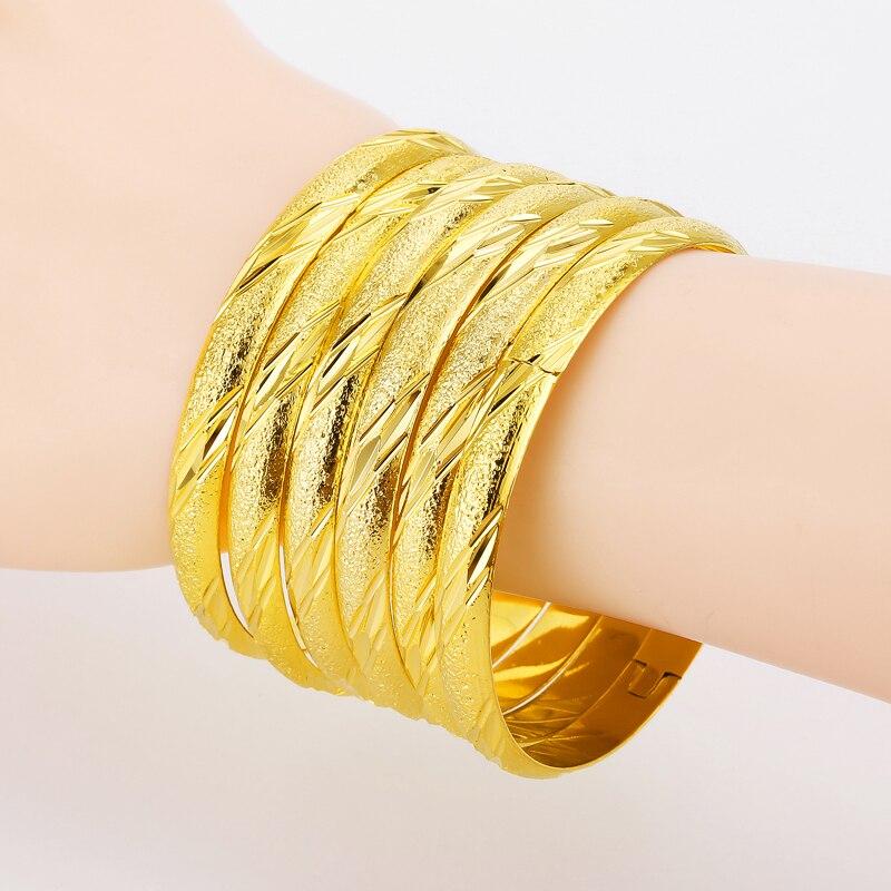 New Design 8MM Eropean Middle East Bangles Bracelets Gold Color ...