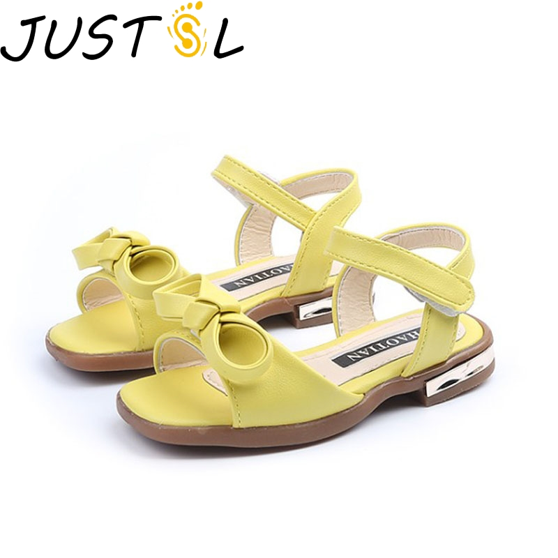 JUSTSL 2018 New Summer Gilr Sandals Bow Princess Shoes Classic Joker Sandals Soft Sandals