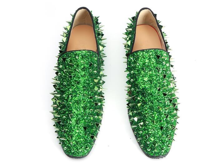 De Transpirables as azul Diseño Pic Planos Pic Novedad Hombres Brillante Deslizantes As Zapatos Europea Lujo Casuales Verde Remaches Moda 47 qtwnpUwO