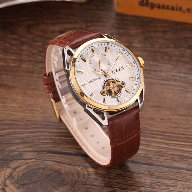 e45fd6747 New Skeleton Tourbillon Mechanical Watch Men Automatic Classic Gold Leather  Mechanical Wrist Watches man Clock Reloj