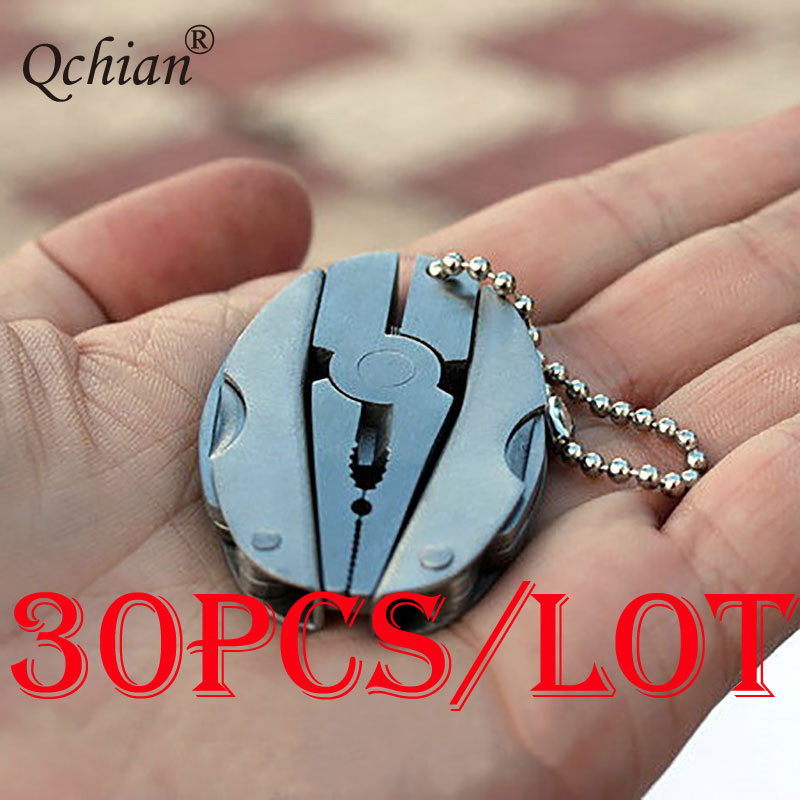 30pcs lot Camping Portable Outdoor Mini Foldaway Multi Function Tools Set Pocket Keychain Pliers Knife Screwdriver