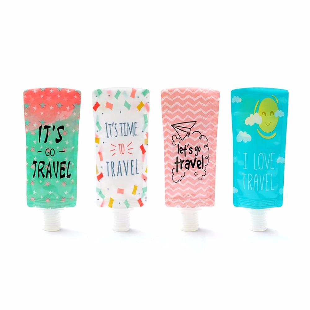100ml Mini Travel Liquid Dispenser Bag Shampoo Storage Container Letters Geometric Pattern Lotion Squeeze Refillable Bottles