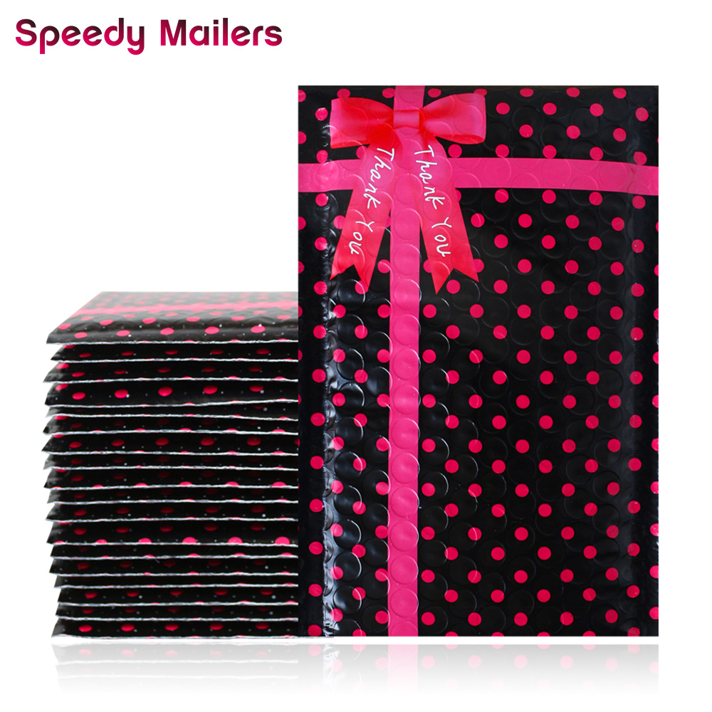 10PCS 4x8'' 120x180mm Small Black Polka Dots Poly Thank You Bubble Mailers,Self Sealing Padded Mailing Envelopes Bowknot Design