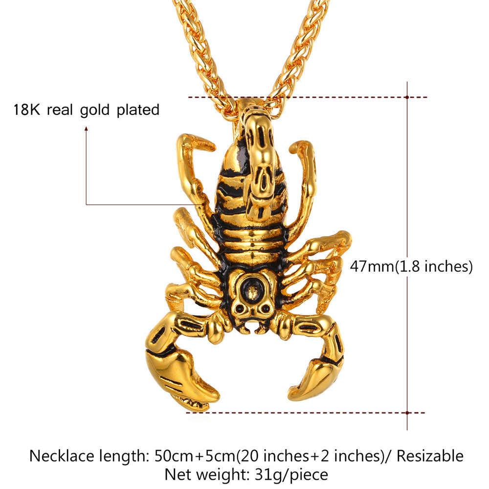 Kpop สแตนเลส Scorpion จี้สร้อยคอทอง/สีดำสร้อยคอผู้หญิงผู้ชายสัตว์เครื่องประดับสร้อยคอ GP338