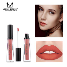 MISS ROSE 6 color transparent tube matte lip gloss is not easy to stick cup fade waterproof glaze