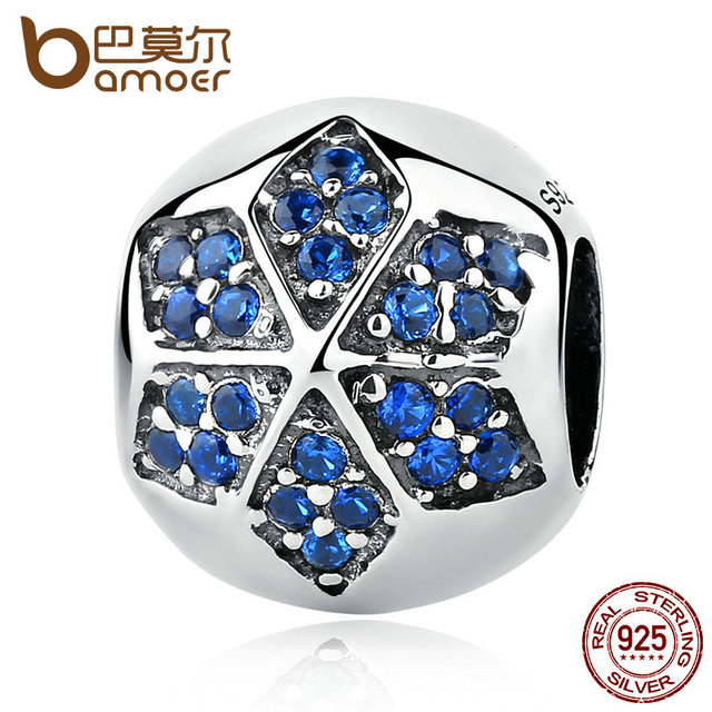 Sterling Silver Blue Crystals Flower Round Bead Charm