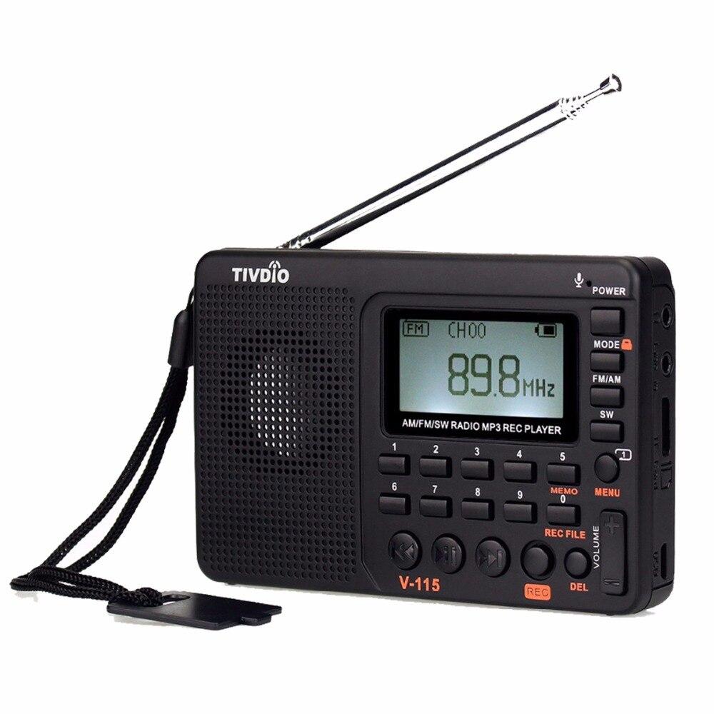 TIVDIO V-115 FM/AM/SW Radio Receiver Baixo Som MP3 Player REC Gravador de Rádio Portátil com Sleep Timer F9205A