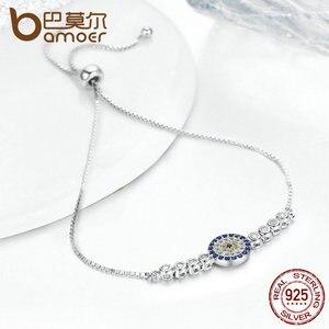 Image 5 - BAMOER 925 Sterling Silver Lucky Round Blue Eyes Power Tennis Bracelet Pave CZ Adjustable Link Chain Bracelets Jewelry SCB006
