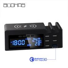 Scomas 48W 3 In 1 6 Cổng USB Ổ Cắm Thông Minh Đa Nhà Du Lịch Treo Tường Điện Có Màn Hình LCD QC3.0 sạc Nhanh + Tặng Sạc Không Dây