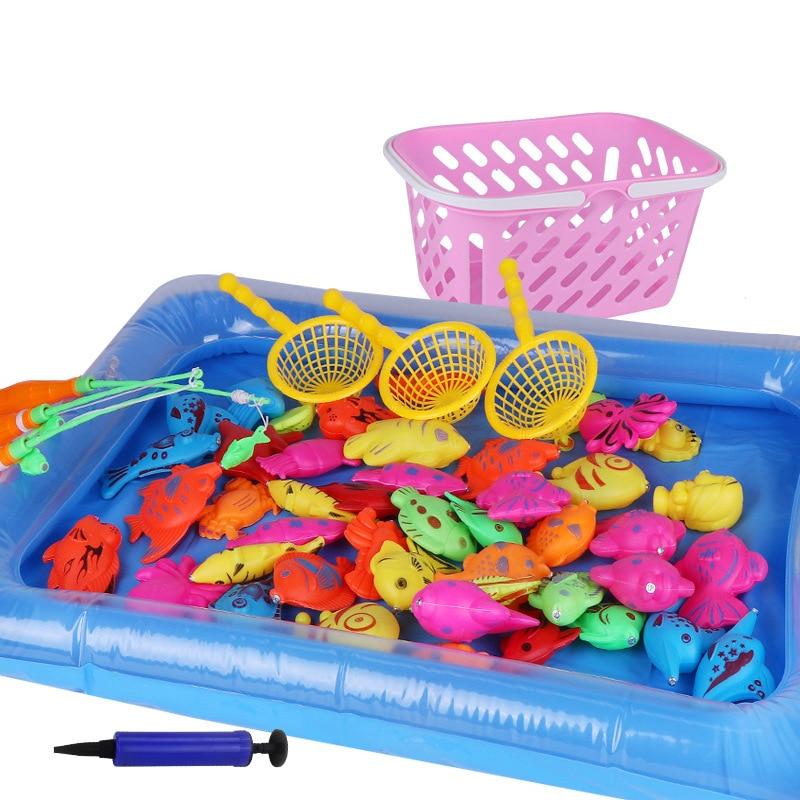 54 шт./компл. Магнитная рыбалка игрушка Род чистый набор для детей модель игра рыбалка игры на открытом воздухе игрушки с надувной бассейн и к...