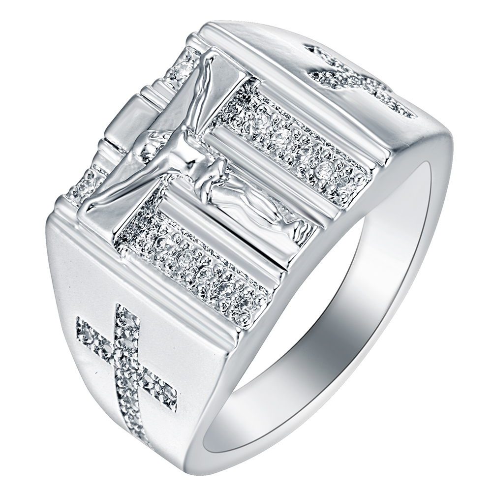 Luxury Trendy Jesus Cross Finger Rings For Men Women Gold&Silver Color Mirco Cubic Zirconia Stainless Steel Hip-Hop Party Bands