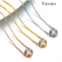 Fashion Crystal Jewelry 316L Stainless Steel Pendants Necklaces for women Simple Design Round Zirconia Necklace Wholesale(China)