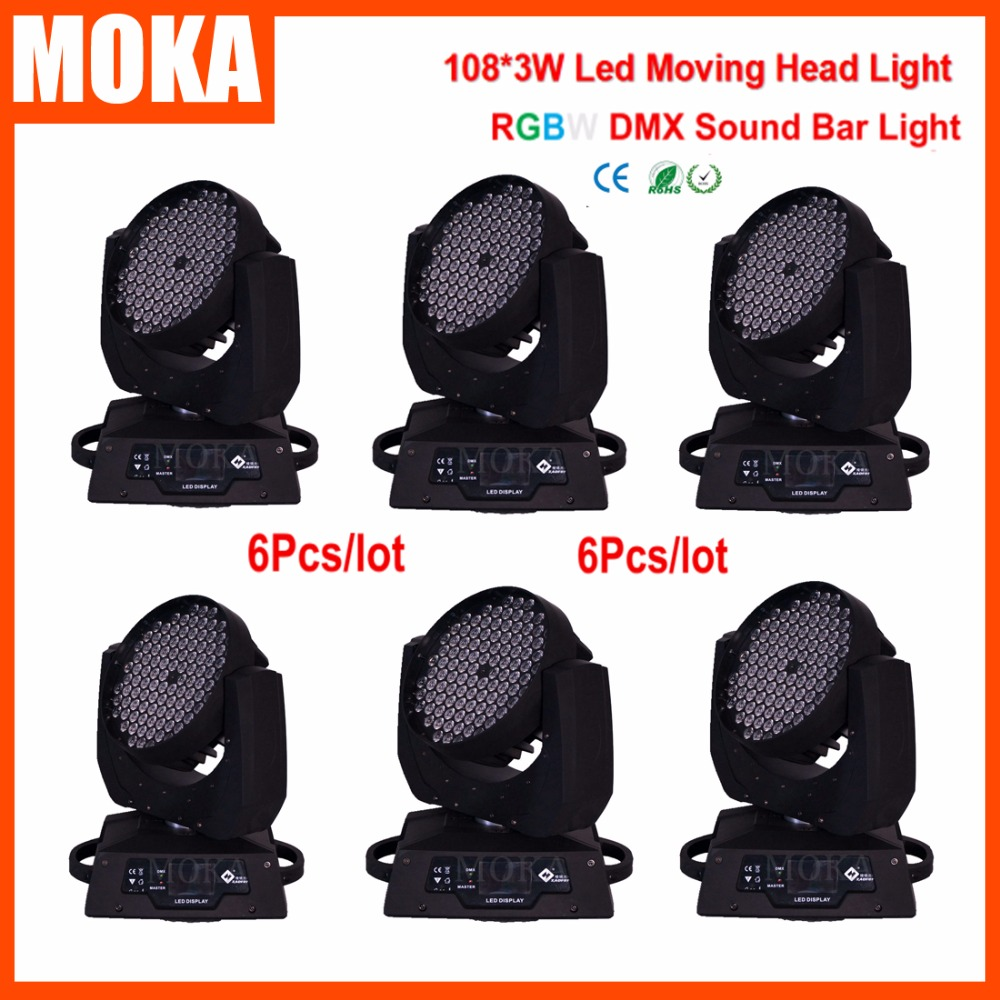 6Pcs/Lot Professional Stage &Dj Head Moving Light 3w 108 Christmas Lights Projector for Show Concert Stars Recording Studio ...