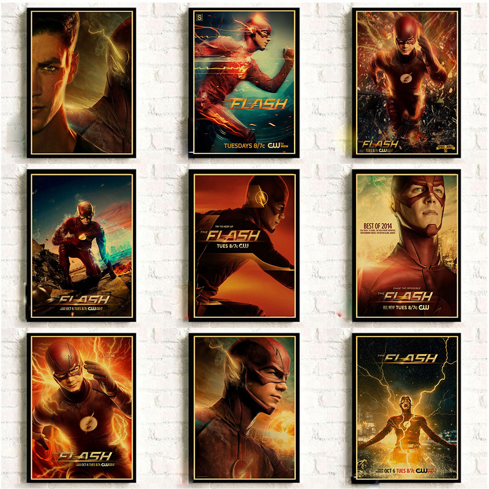 DC Comics The Flash Classic Movie Poster Kraft Paper Prints And Posters Cafe Bar Room Home Decor Retro Wall Sticker
