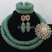 Fantastic Traditional Wedding Nigerian Beads Jewelry Set Teal Green/Gold Fashion African Bride Gifts Free Shipping AIJ400