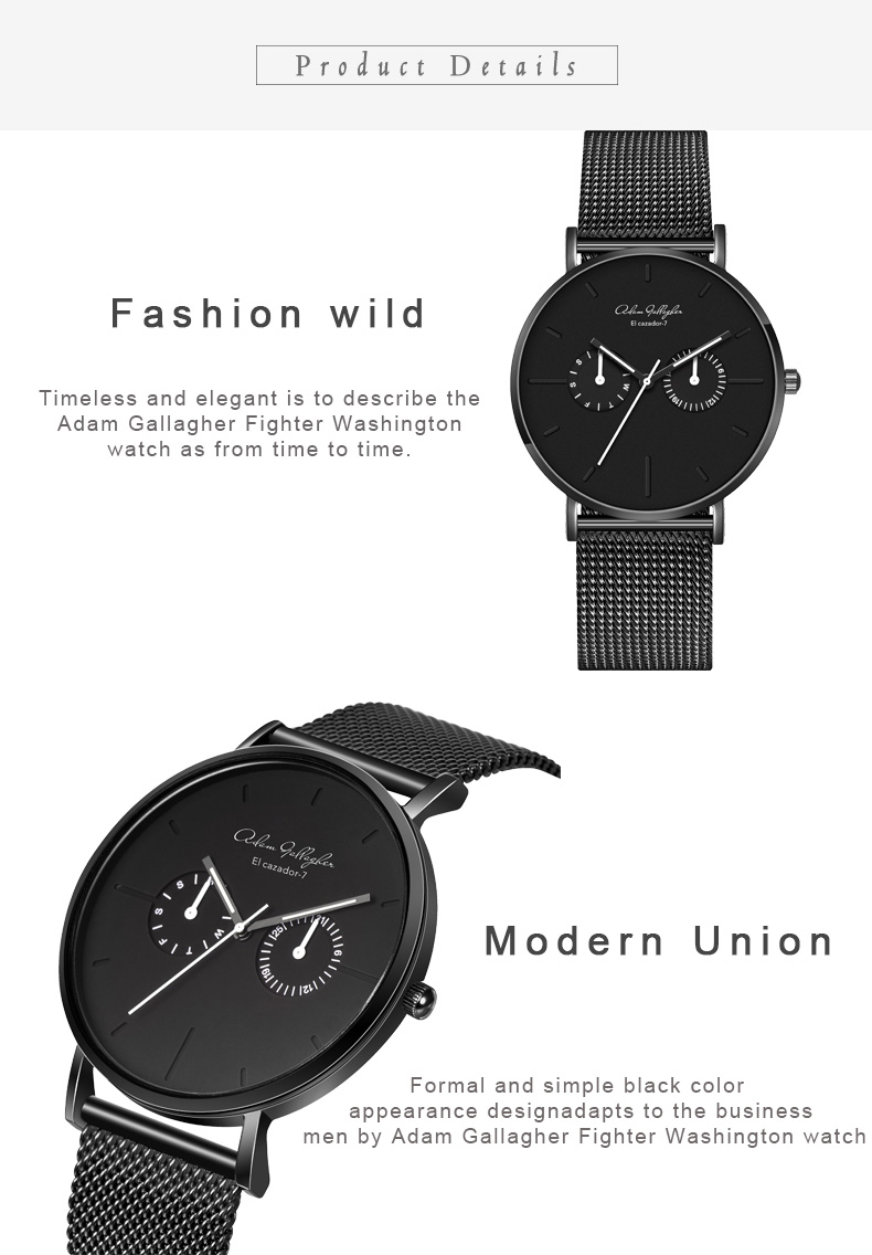 Inventive Japan Quartz Fashion Black Luxury Ultra Thin Man Watches Business Red Hand Woman Leather Magnet Mesh Stainless Steel Waterproof Men's Watches Watches
