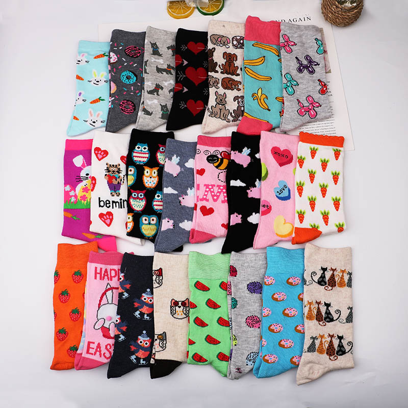 Fashion Happy Funny   Socks   Cotton Soft Sox Beautiful Curve Women Ladies Girls Harajuku bird puppy cat Art ankle   Socks