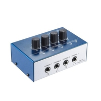 Ultra Compact 4 Channels Mini Audio Stereo Headphone Amplifier With Power Adapter Blue(Eu Plug)