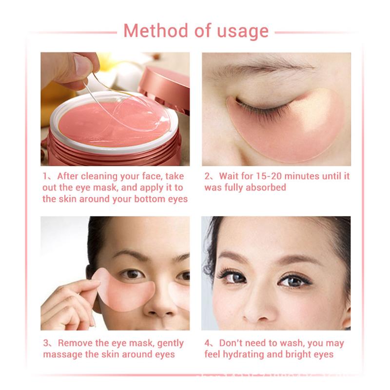 60Pcs/Box Plant Extract Moisturizing Eye Mask Eye Care Black Eye Patch Aging Anti Wrinkles Aquagel Collagen Eye Mask Health 14