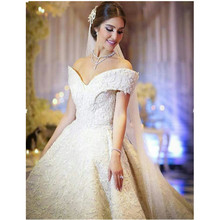 2017 Luxury Crystal Ball Gown Bling Princess Beading Wedding Dresses Gown 2017 V neck long Bridal Wedding Gown robe de mariage