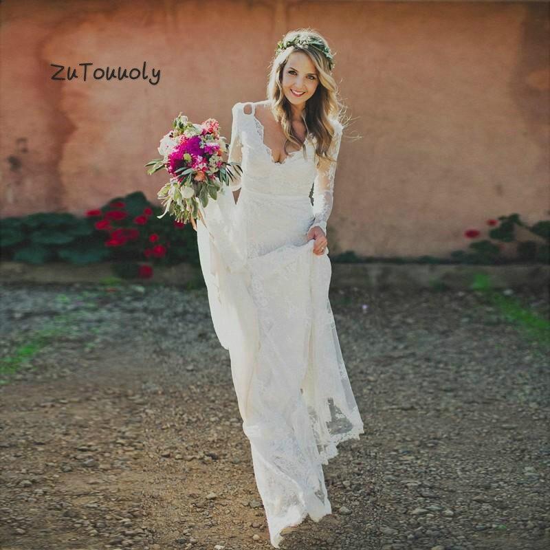 Full Lace Boho Wedding Dress With Long Sleeves V Neck Floor Length Backless Garden Beach Bridal Gowns Australia Robe De Mariage