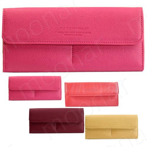 180792056b Womens Long Leather Wallet Button Clutch Purse Card