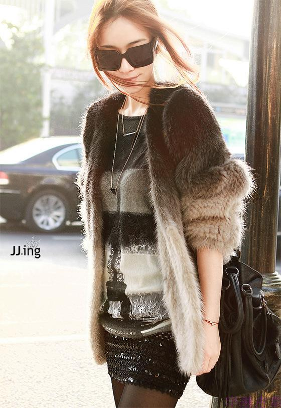 100%imported mink coat gradient knit sweater sleeve female fur coat fur mink knitted fashion transition thickening free shipping